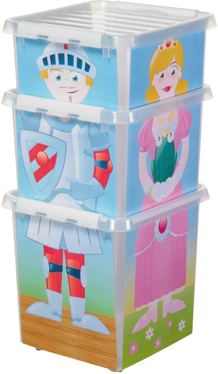 Plastic Puzzel Kinderobergboxen 38, 26 en 18 liter met klemdeksel, Sunware Q-line wit transparant