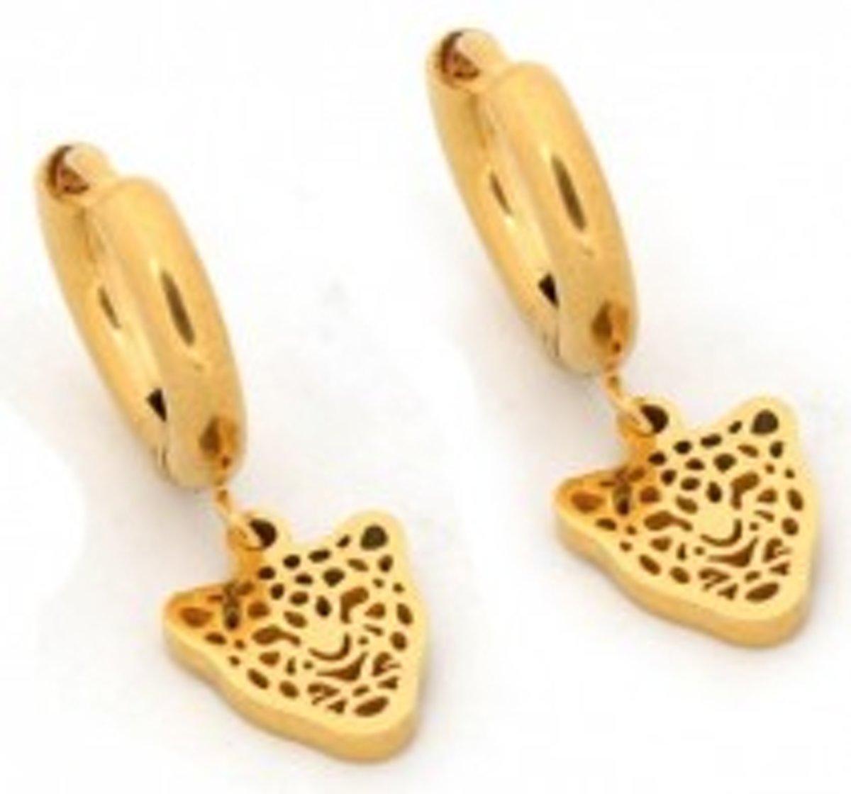 Oorringen met bedel leopard | staal | goudkleurig | 10mm kopen