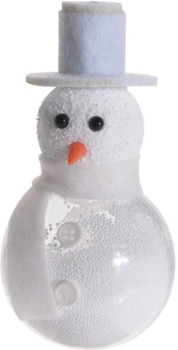 Witte sneeuwpop kerstversiering hangdecoratie 12 cm met knopen kopen