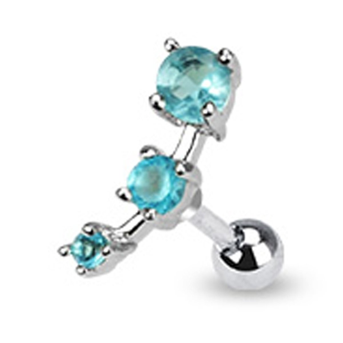 Helix piercing 3 steentjes vierkant aqua ©LMPiercings kopen
