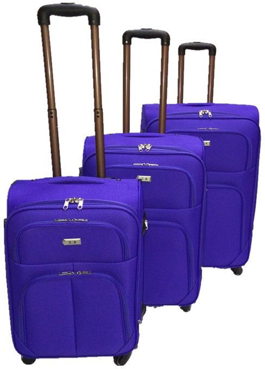3 delig bagage stoffen koffer set 4 wielen trolley - Paars kopen