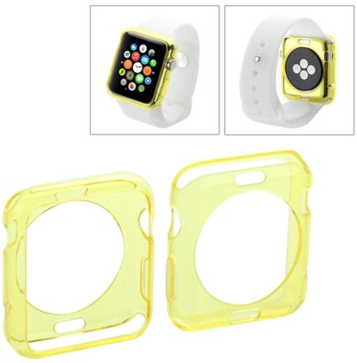 Apple Watch 42mm transparant TPU hoesje case frontje Geel kopen