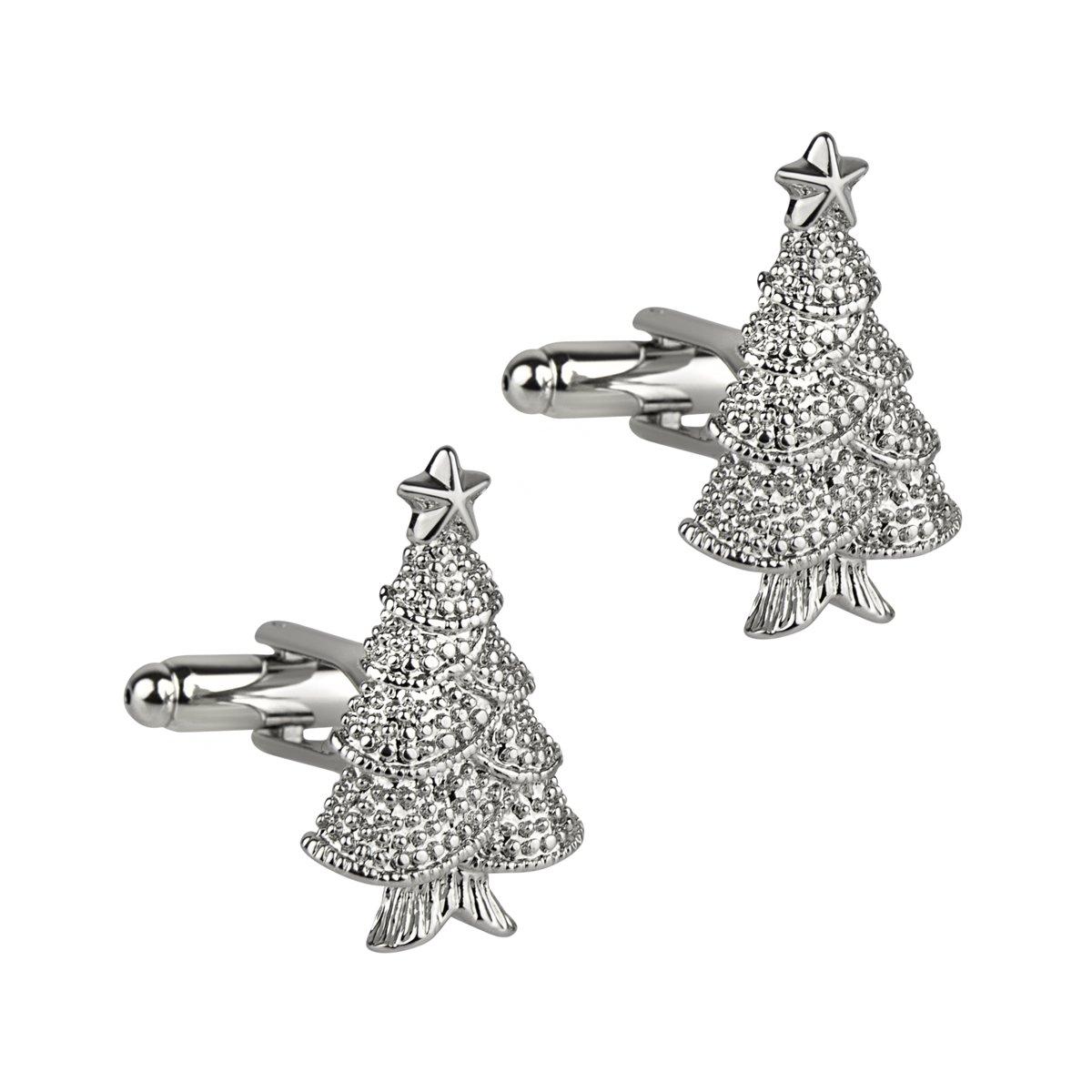 Kerst Manchetknopen Kerstboom Zilver kopen