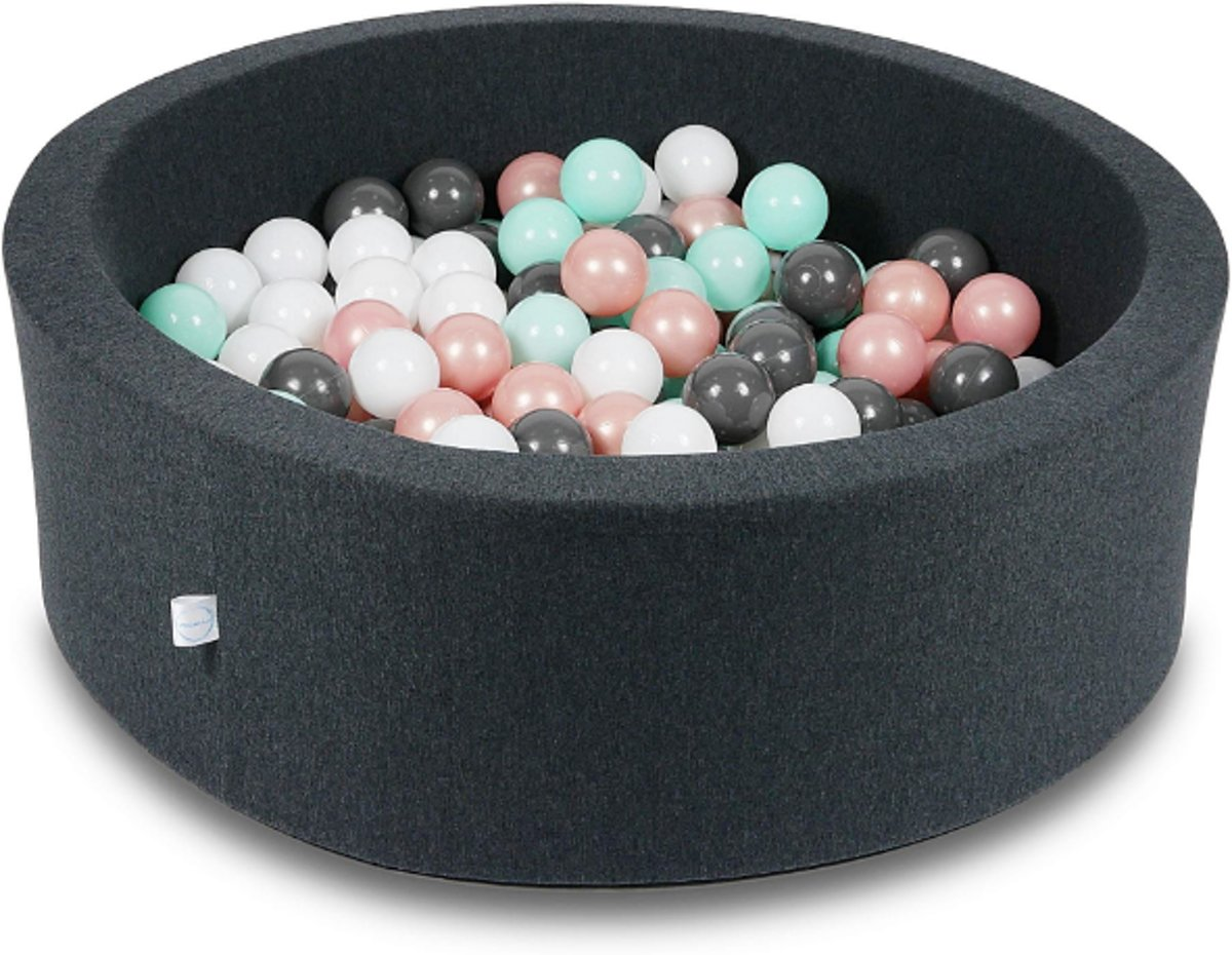 Ballenbak - 200 ballen - 90 x 30 cm - ballenbad - rond zwart