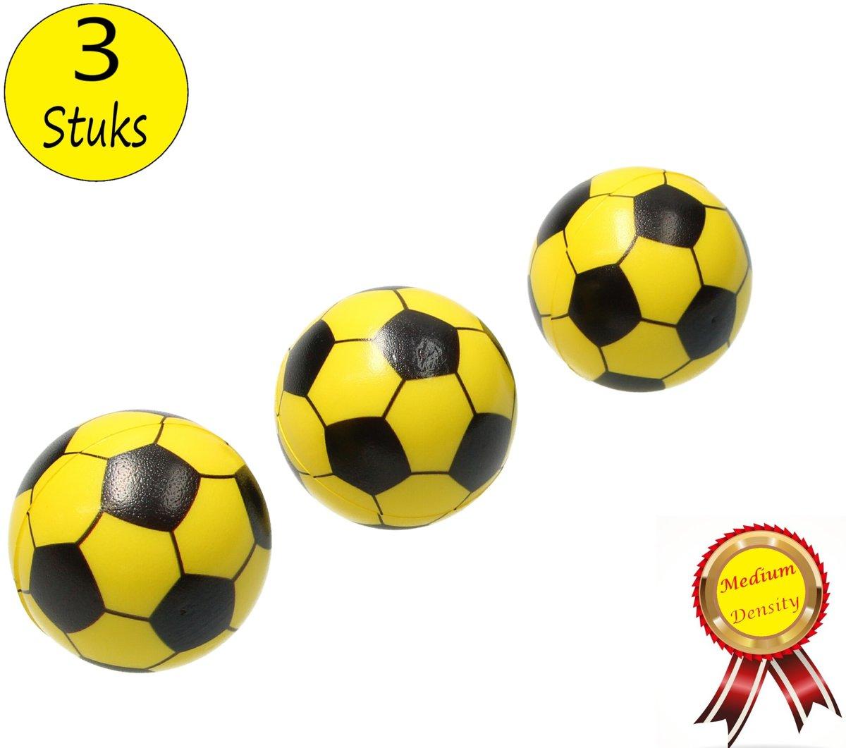 Stressbal Medium Density Voetbal 3 Stuks – Sensomotorische Stimulatie – Anti-Stress – Geel