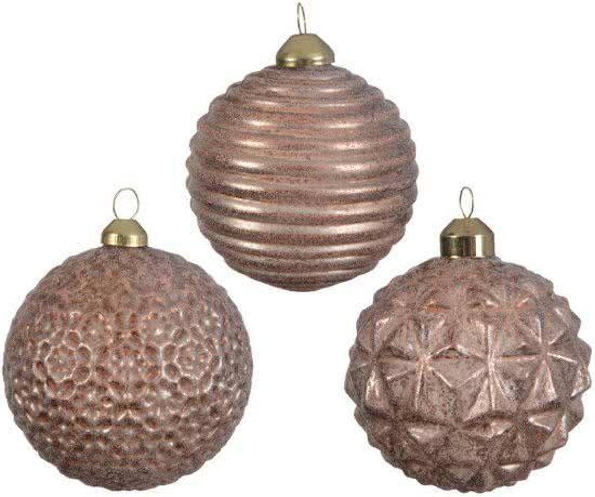 Glas Kerstballen Relief (8cm) Box 3 Stuks Copper kopen