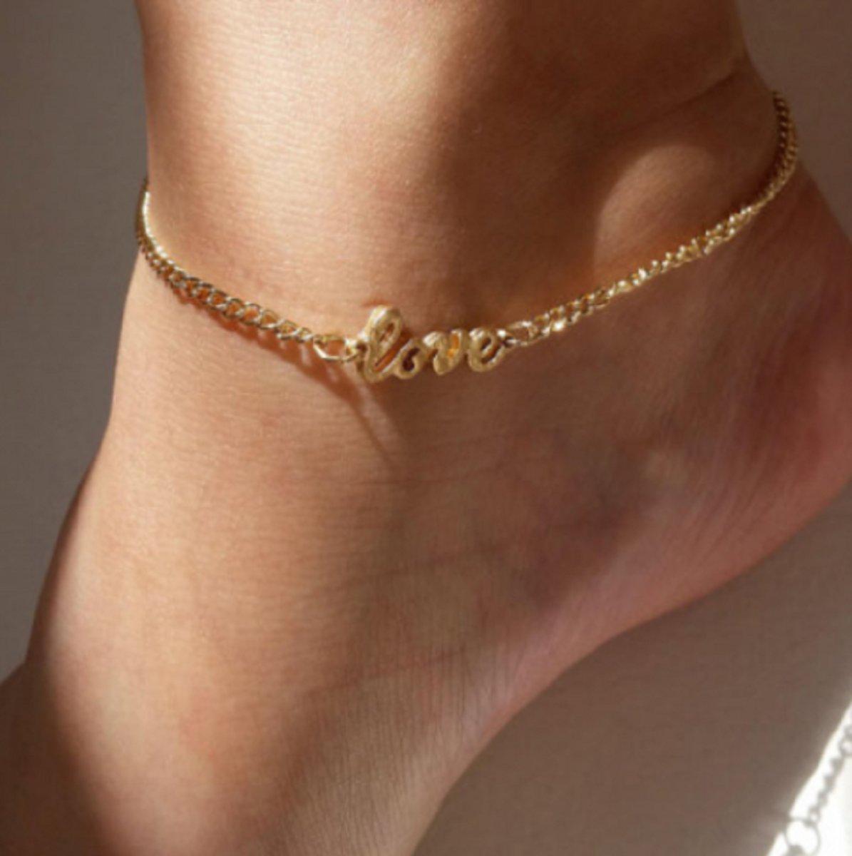 Enkelkettinkje- Goudkleur- Love- 22  29 cm kopen