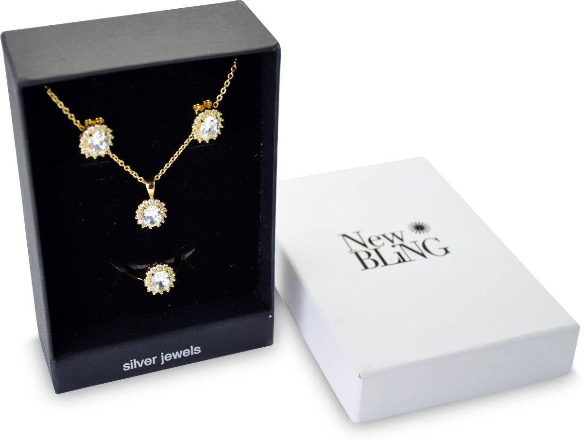 New Bling Gift Set 9NB SET011 62 Sieraden Geschenkset - Zilveren Oorbellen 6x8 mm Collier 40+5 cm Ring maat 62 - Solitair Zirkonia steen - Goudkleurig kopen