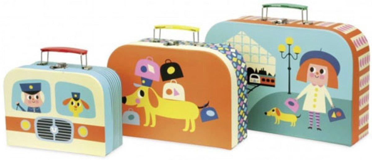 Vilac kofferset voor kinderen 3-delig met leuke illustraties. kopen