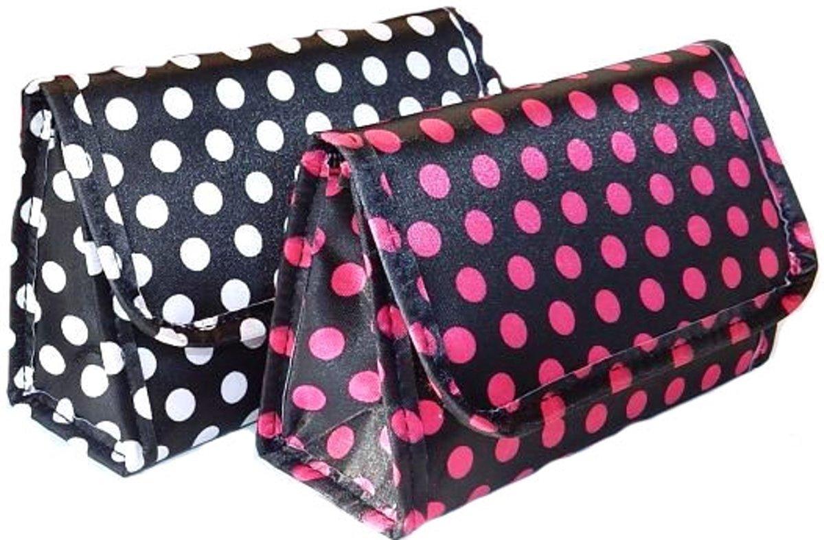Make-up tasje met Spiegel-Black Dots-Roserood (Afmeting 17 x 5,5 x 10 cm.) kopen