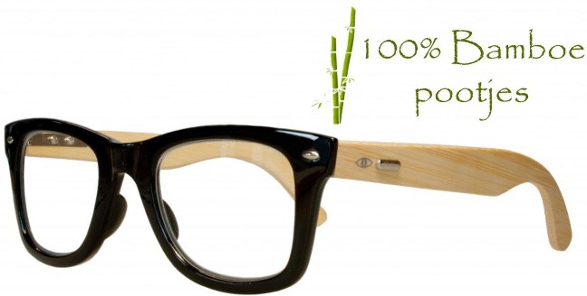 Icon Eyewear PCY300 Bam Boo Leesbril +2.50 - Zwart montuur, écht bamboo poten kopen