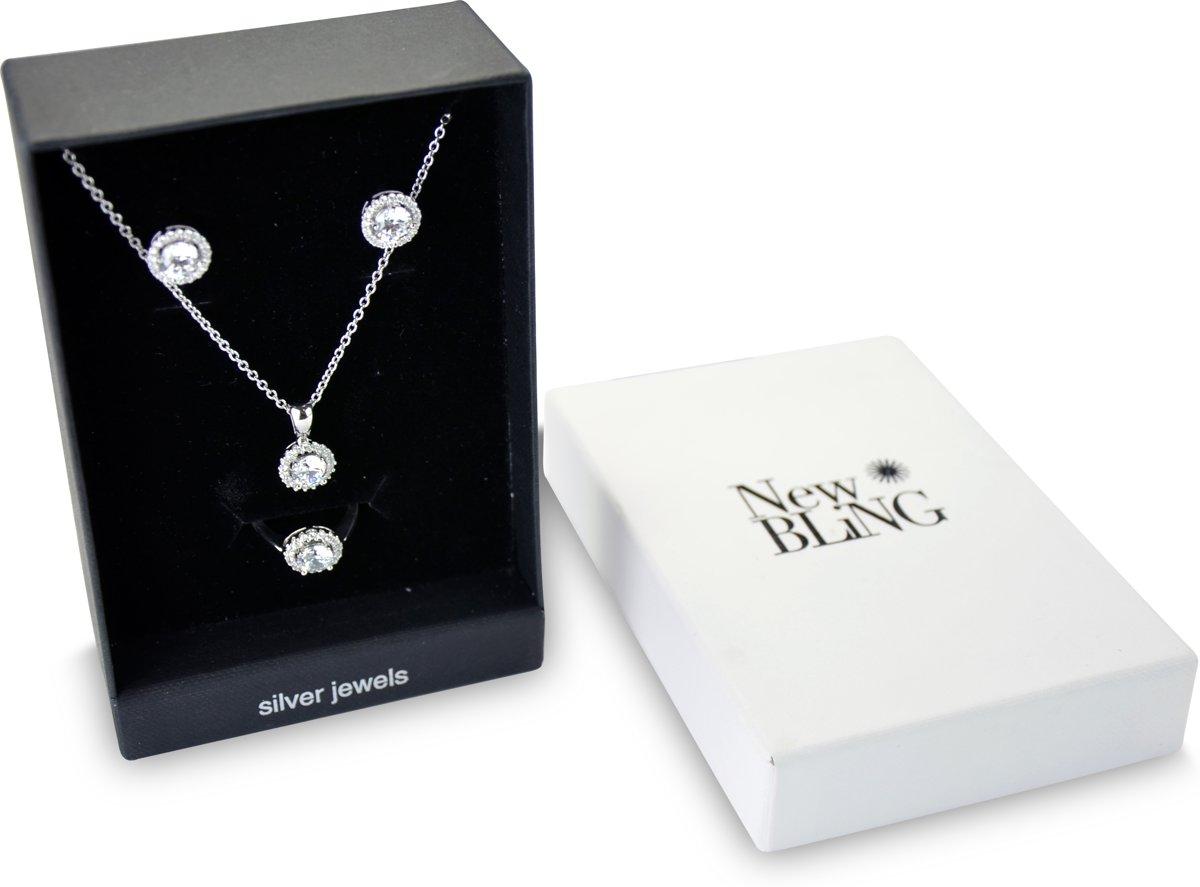 New Bling Gift Set 9NB SET013 60 Sieraden Geschenkset - Zilveren Oorbellen 6 mm Collier 40+5 cm Ring maat 60 - Zirkonia - Zilverkleurig kopen