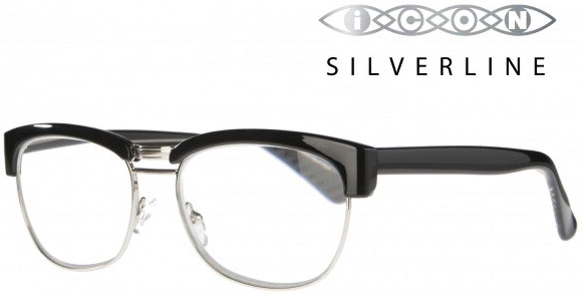 Icon Eyewear MCE723 Sean, Silverline Leesbril +3.00 - Glanzend zwart, metalen onderzijde kopen