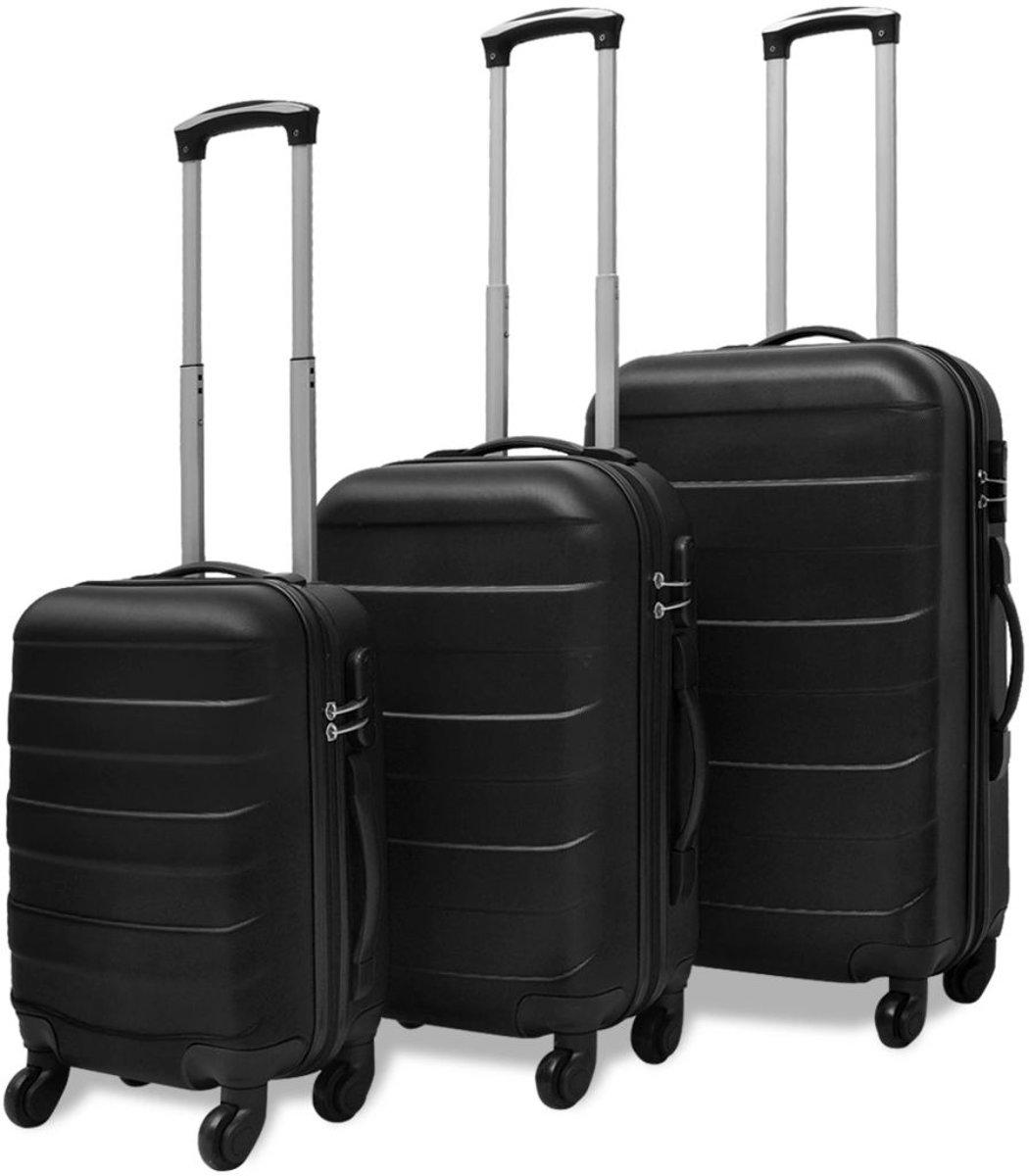 vidaXL Harde kofferset zwart 3-delig kopen