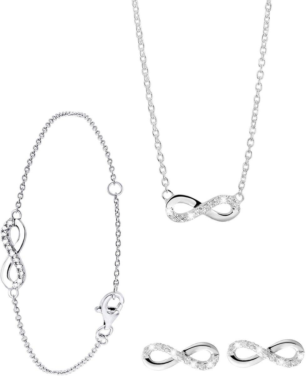 Lucardi - Zilveren set infinity met zirkonia - maat 42 kopen