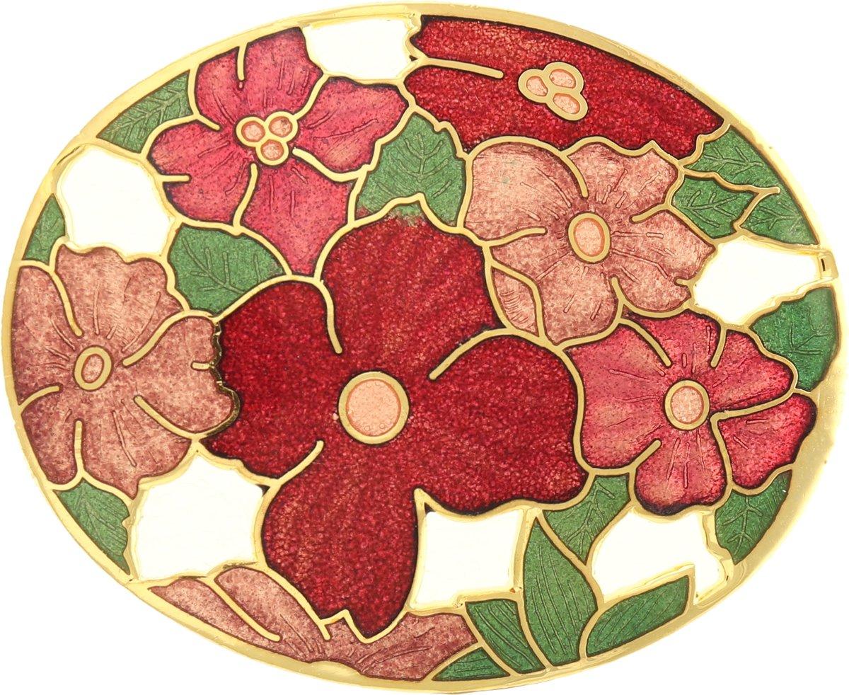 Behave®  Broche ovaal bloemen rood emaille kopen