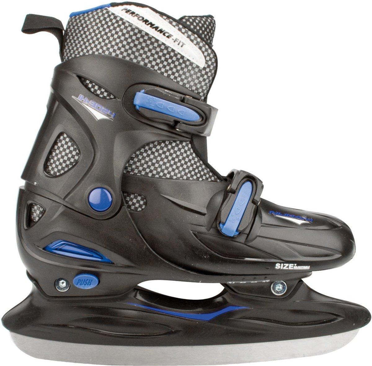 Nijdam 3024 Junior IJshockeyschaats - Verstelbaar - Hardboot - Zwart/Blauw - Maat 34-37