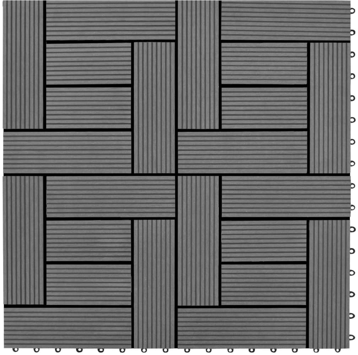 vidaXL Terrastegels 11 stuks 30 x 30 cm WPC 1 m2 (grijs) kopen