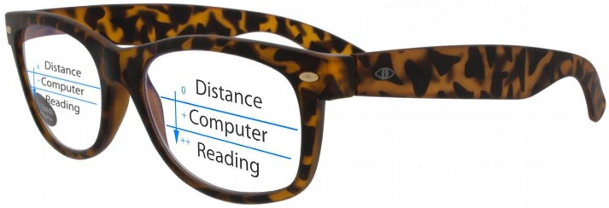 Icon Eyewear TAD013 +2.50 WayeFarer Multifocale Computerbril - BlueShields blauw licht filter lens - Tortoise kopen