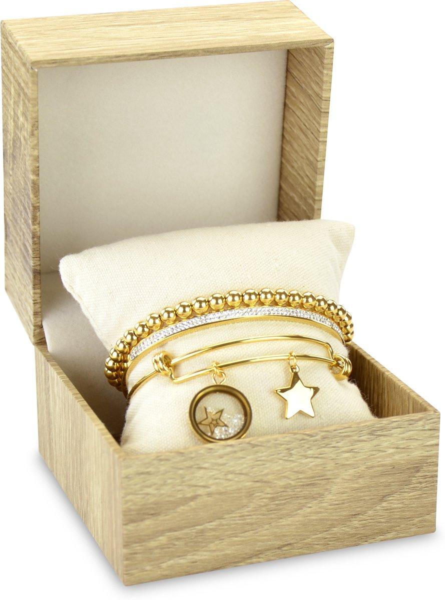 CO88 Collection Gift Set 8CO SET014 Sieraden Geschenkset - Armbanden Set 3 Stuks - Staal - Goudkleurig kopen