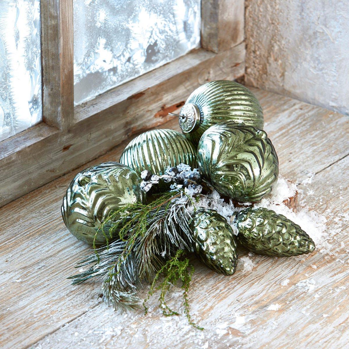 LOBERON Kerstversiering set van 6 Silverhill antiekgroen kopen