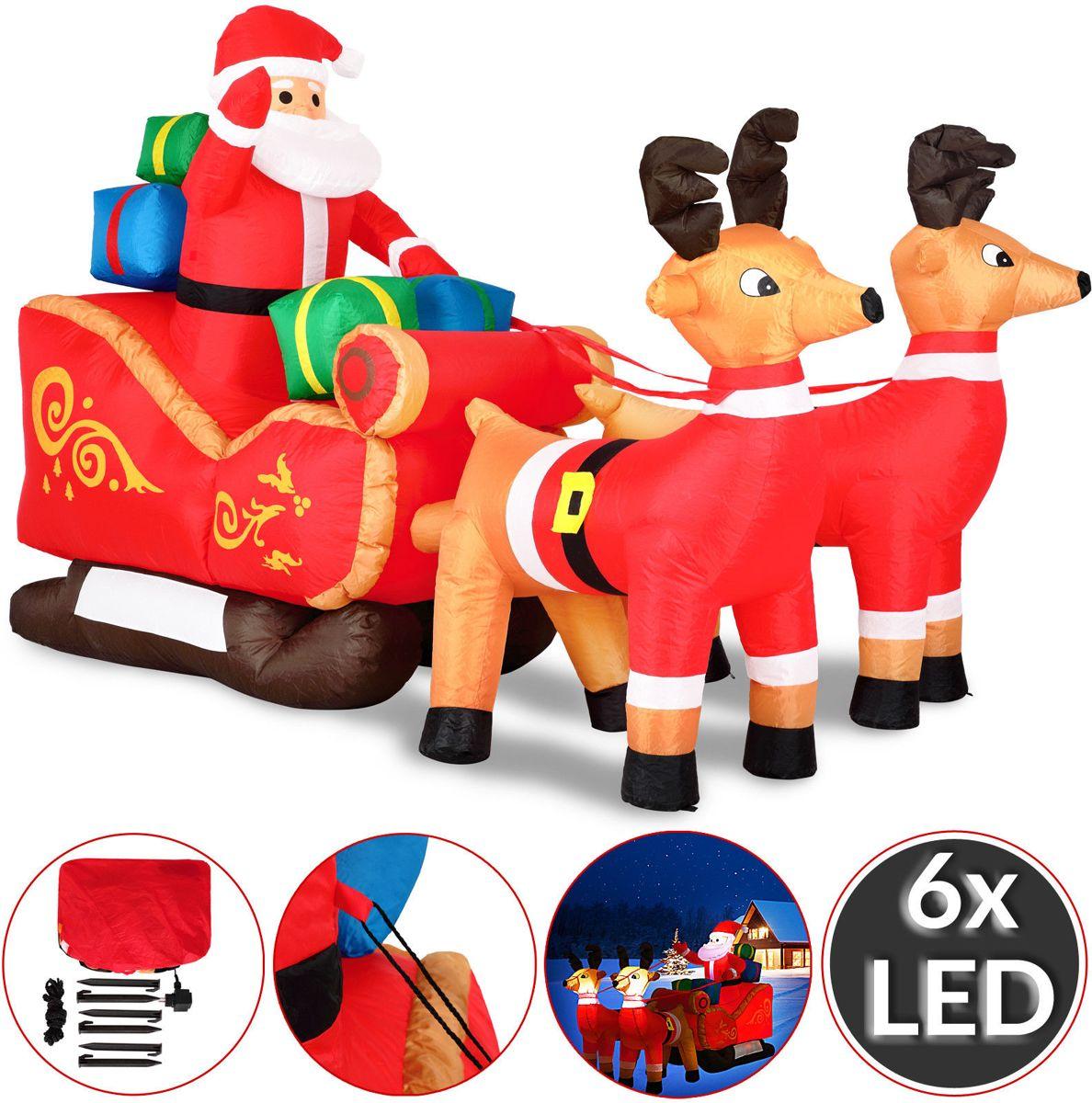 Grote opblaasbare kerstman met arreslee, voor binnen en buiten, met LED verlichting kopen