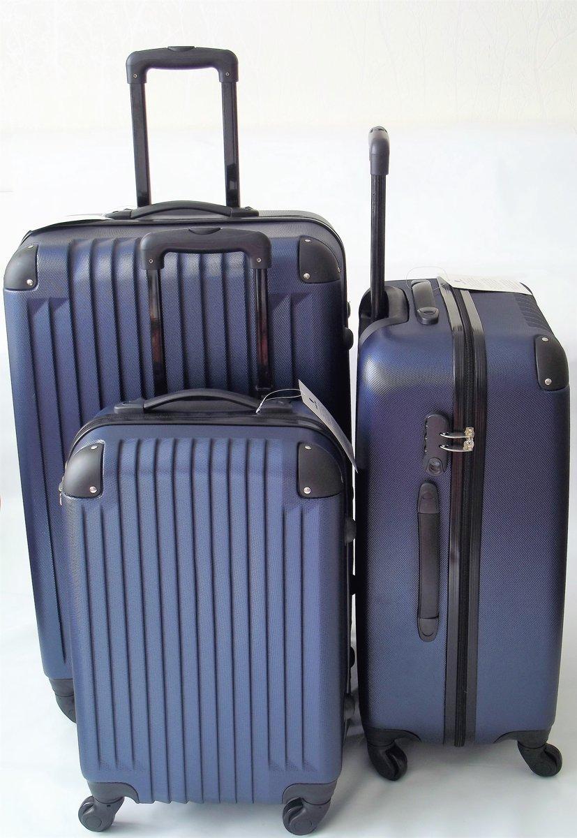 Kofferset Royalty Rolls Trolley 3 delig blauw kleur kopen