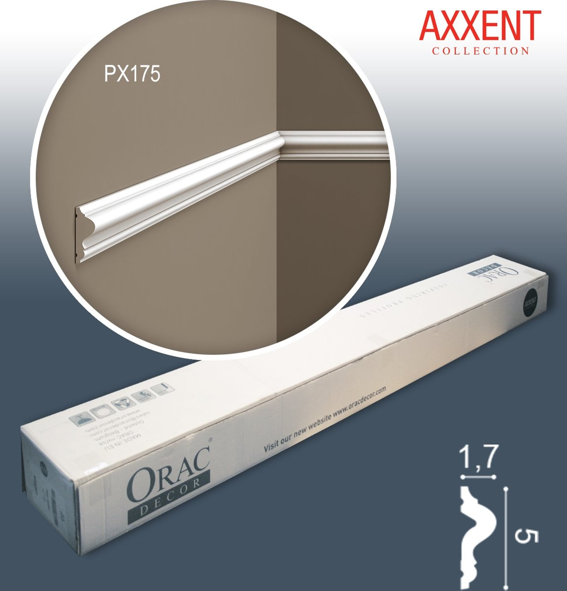 Orac Decor PX175-box AXXENT 1 doos 48 stukken Wandlijst | 96 m kopen