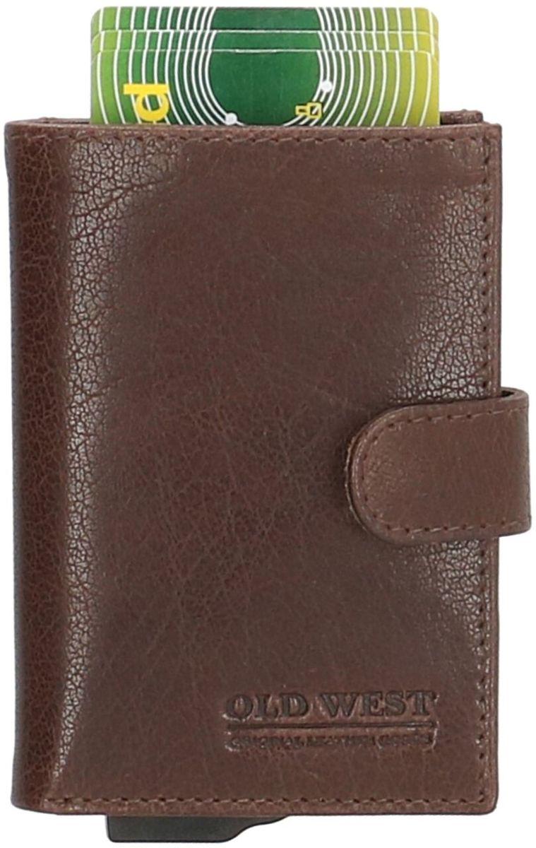 Old West Cardprotector Portemonnee Leer met RFID bescherming Bruin kopen