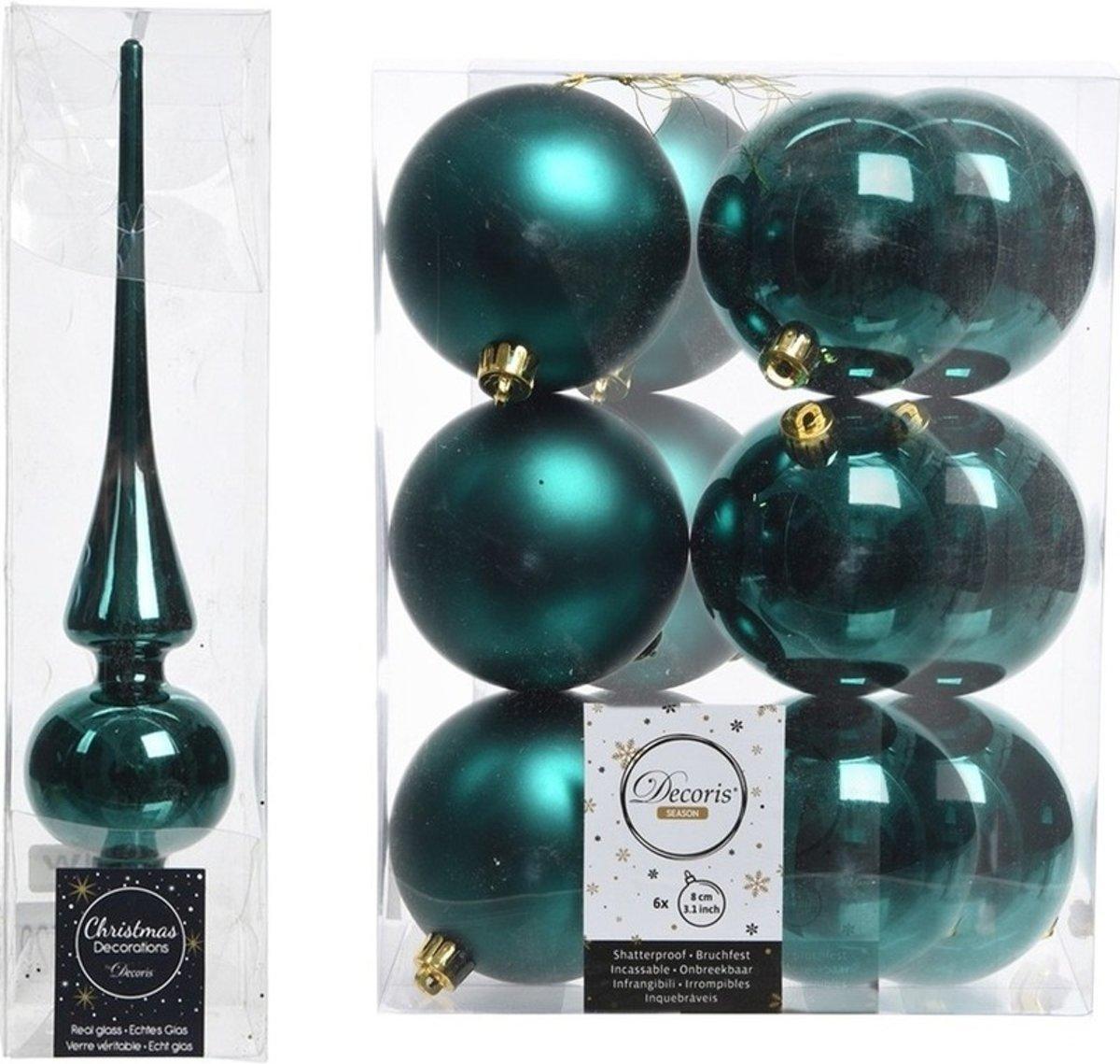 Kerstboom decoratie smaragd groen piek en 12x kerstballen 8 cm kopen