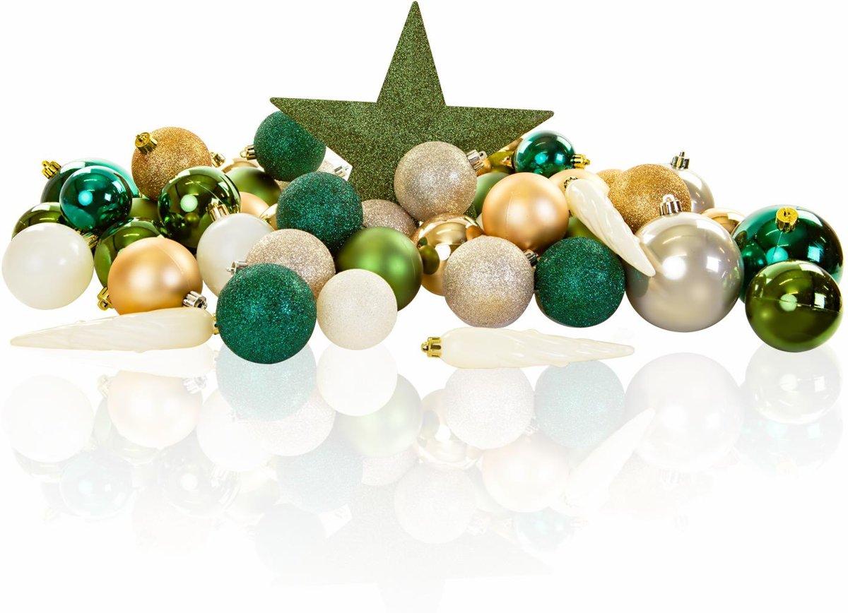 Excellent Deco - Plastic Kerstballen Mix 63 Stuks - Green kopen