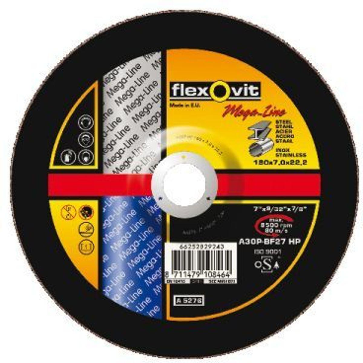 Afbraamschijf Flexovit 180x6.8x22.2 A30P-BF27HP kopen
