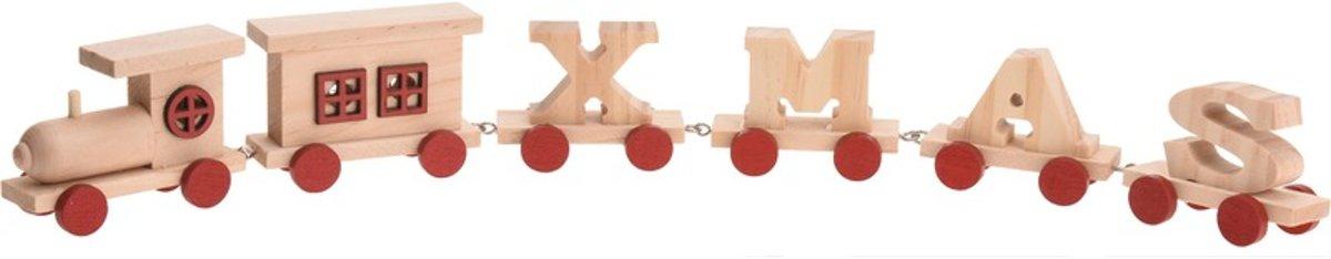 Rode houten kersttrein met tekst XMAS 46 cm kopen