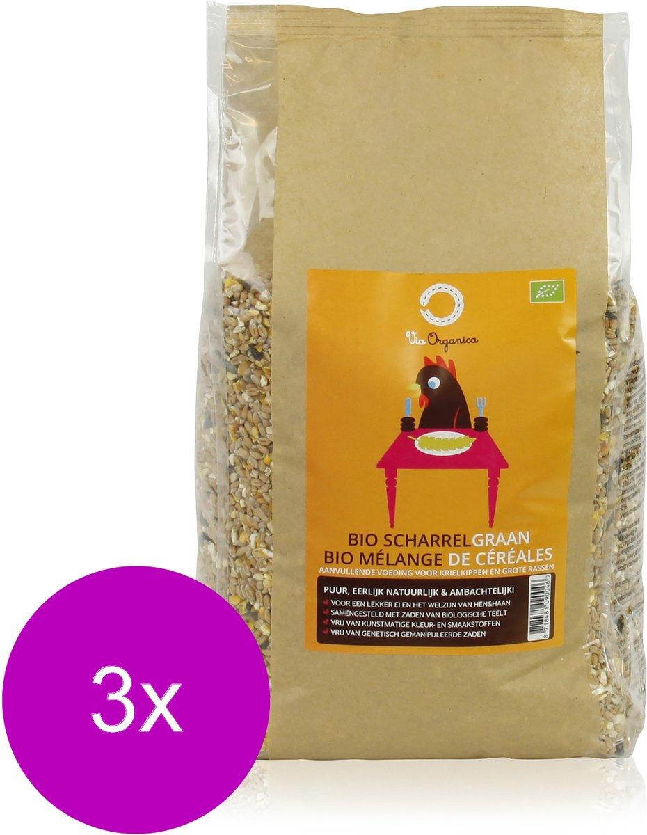 Via Organica Bio Scharrelgraan - Kippenvoer - 3 x 4 kg Bio