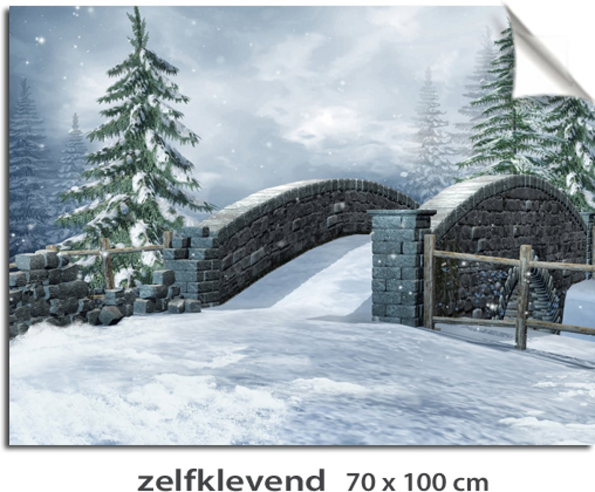 Kerstdorp achtergrond winterlandschap brug kopen