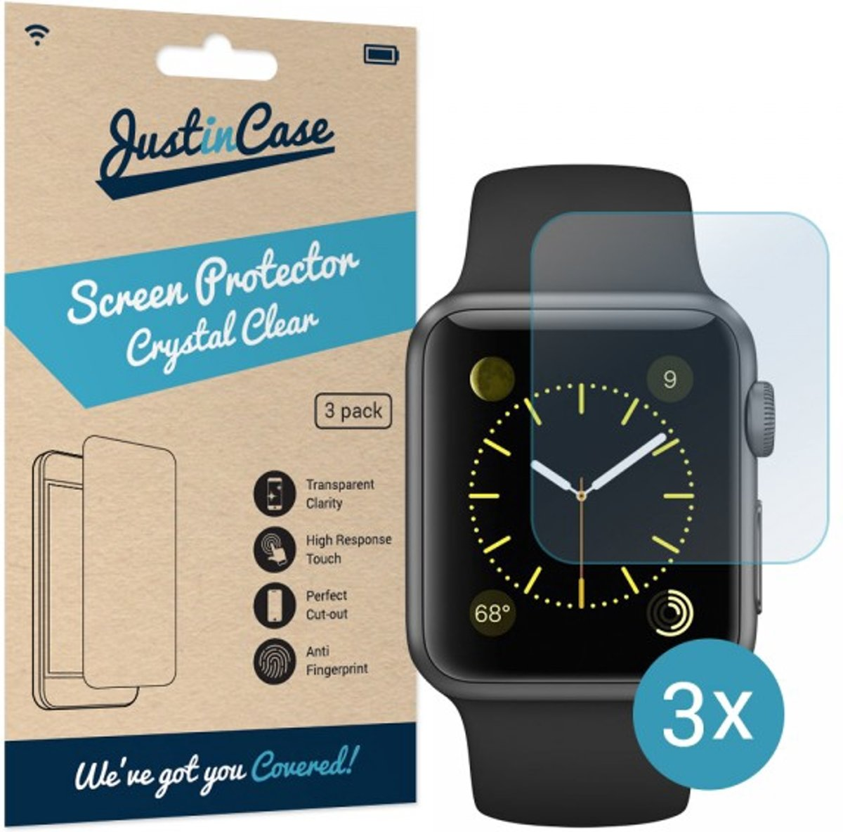 Just in Case Screen Protector voor de Apple Watch 42mm - Crystal Clear - 3 stuks kopen