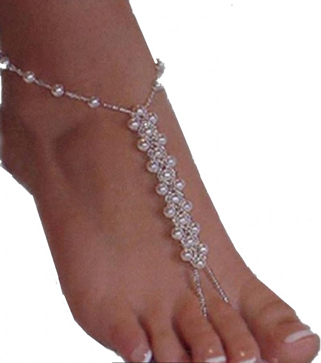 Charme Bijoux ® Voetsieraad- Dubbel parel- elastische kopen