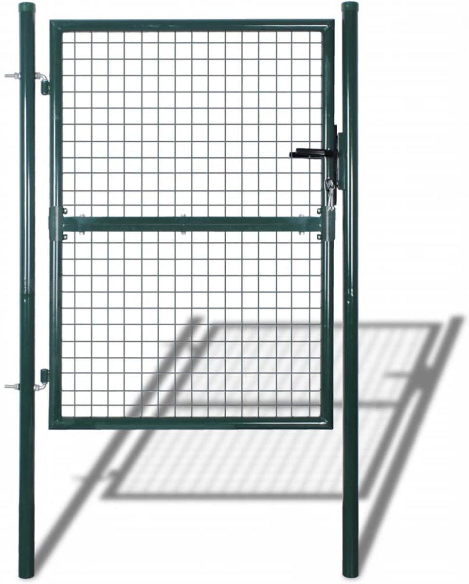 vidaXL Tuinhek poort 85,5x200 cm/100x250 cm staal groen kopen