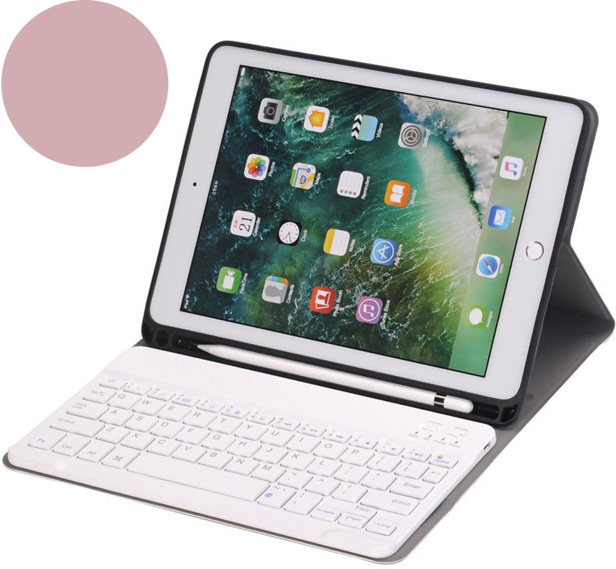 Shop4 - iPad 9.7 (2018) Toetsenbord Hoes - Bluetooth Keyboard Cover Business Rosé Goud met Pencil Houder kopen
