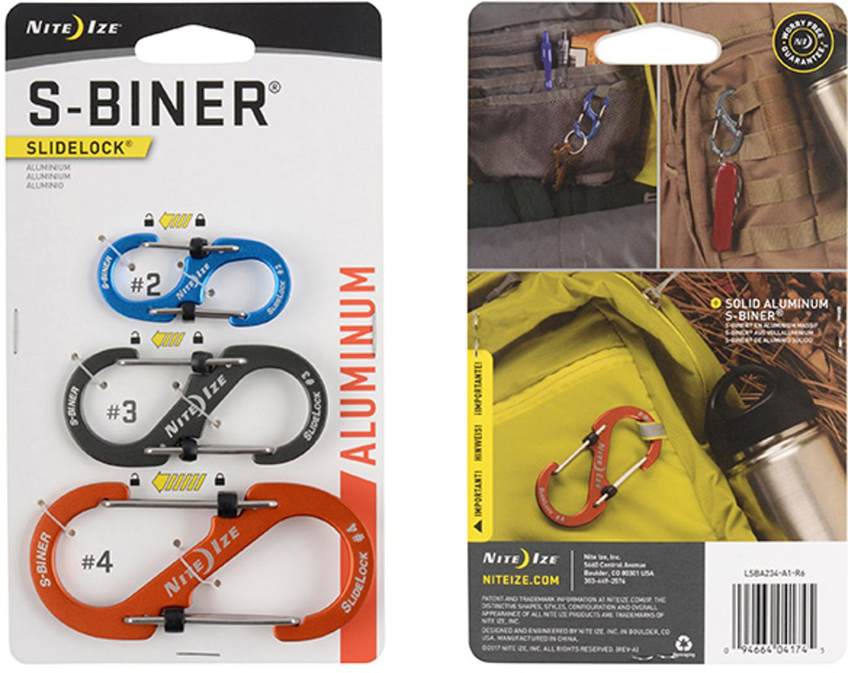 NITE IZE S-Biner SlideLock Aluminum - 3 Pack