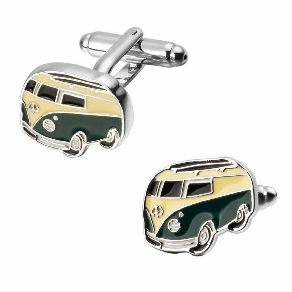 Fako Bijoux® - Manchetknopen - VW Bus - 15x20mm - Zilverkleurig kopen