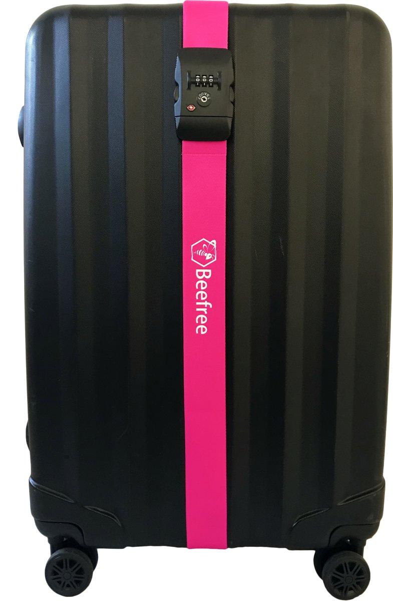 Beefree Kofferriem met TSA Cijferslot - Bagage Riem - Luggage Strap - Kofferband - Gesp - 200 cm - Roze kopen