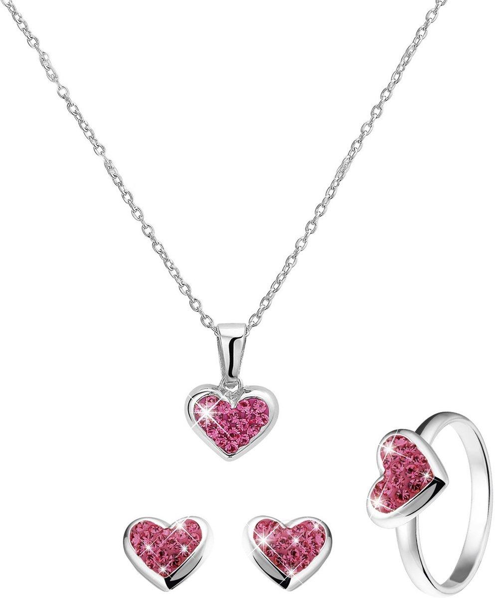 Lucardi - Zilveren kinderset hart met roze kristal - maat 15 kopen