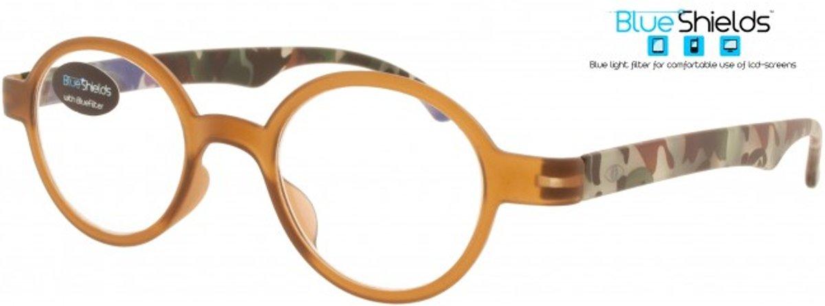 Icon Eyewear PFA333 +3.00 Mash BlueShields Leesbril - Blauw licht filter lens - Bruin montuur met legerprint poten kopen