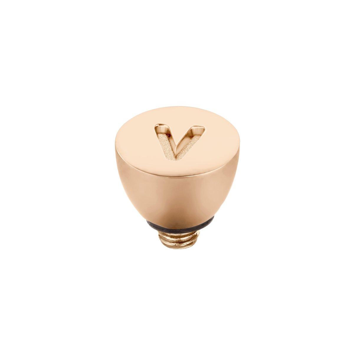 Melano Twisted steentje - letter V - dames - rosekleurig - 6 mm kopen