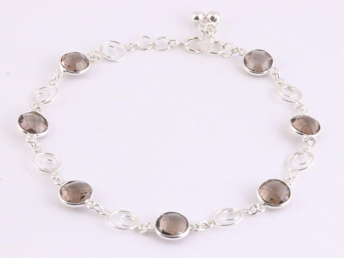 Zilveren enkelband met rookkwarts kopen