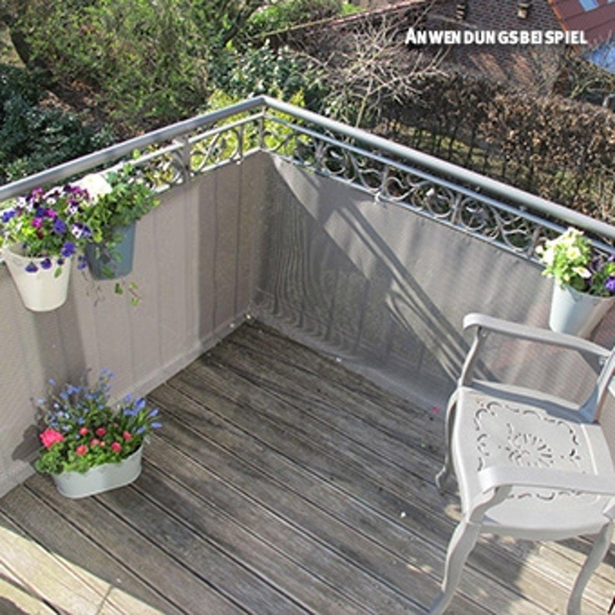 Balkonscherm geweven kunststof titanium grijs (300x75cm) kopen