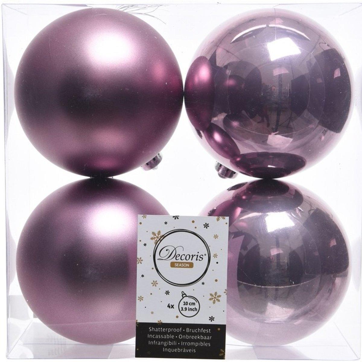 Lila paarse kerstversiering kerstballen kunststof 10 cm kopen