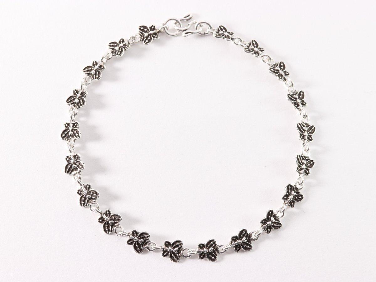 Fijne zilveren enkelband met vlinders - 25 cm. kopen