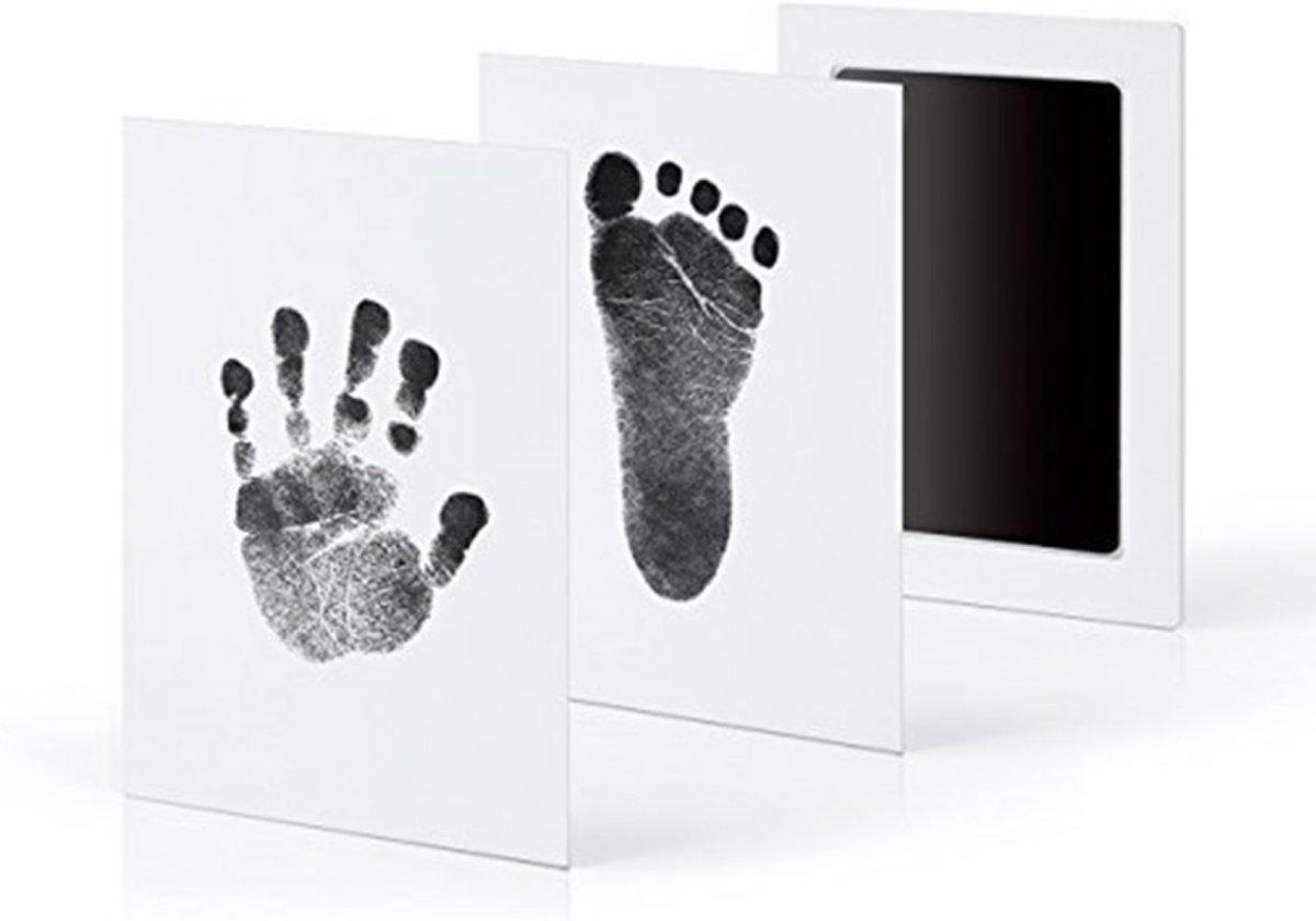 Baby handafdruk en voetafdruk fotokaartje - Baby cadeau - Eenvoudig schoonmaken - zwarte inkt